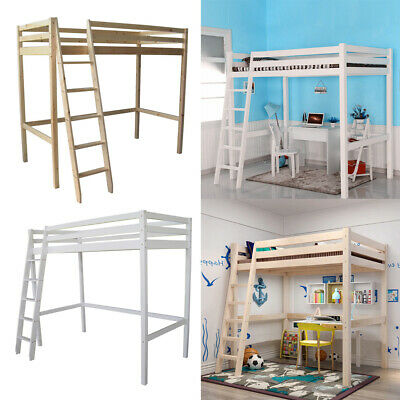 3FT High Sleeper Kids Bedroom Loft Bunk Bed With Ladder Bedstead Pine Wood Frame • 175.95£