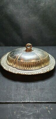 Silver Plate Ornate Butter Dish With Lid • 4£