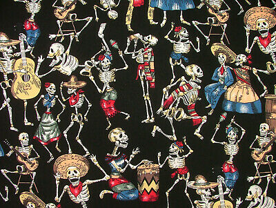 £8.99 • Buy Fabric To Make Face Masks Skeletons Mexican Skulls 100% Cotton Poplin Fabric