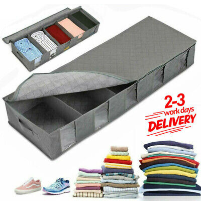 Large Capacity Under Bed Storage Bag Box Compartment Shoes Clothes Organizer UK • 7.99£
