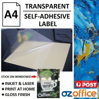 AU18.95 • Buy A4 Clear Translucent Glossy Self Adhesive Sticker Label Paper Inkjet Laser Print