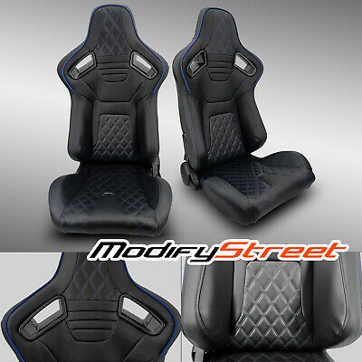 $330.99 • Buy 2 X BLACK PVC LEATHER/BLACK STITCH LEFT/RIGHT RACING BUCKET SEATS