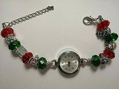 £11.99 • Buy CHRISTMAS Watch Bracelet With 6 Silver Charms And 8 RED And GREEN Beads