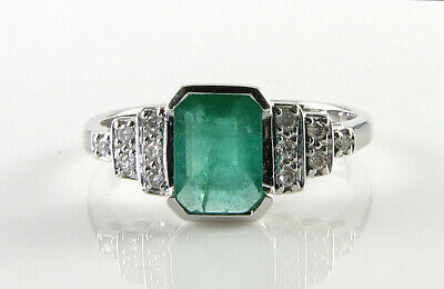 LARGE 9k 9CT WHITE GOLD COLOMBIAN EMERALD DIAMOND ART DECO INS RING FREE RESIZE • 699£
