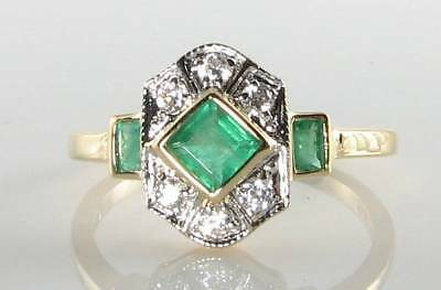 Divine 9k 9ct Gold Colombian Emerald Diamond Art Deco Ins Ring Free Resize • 309£