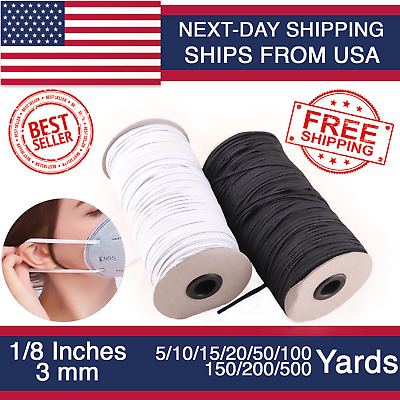 $ CDN13.61 • Buy Elastic Band 1/8 Inches Width (3mm) White/Black 5 Yard To 500 Yards