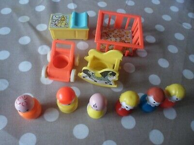 Vintage Fisher Price Little People Nursery Set With 6 Figures Inc Baby • 5£