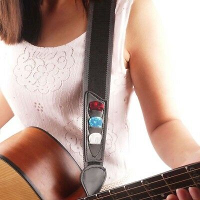 Black Adjustable Acoustic Electric Soft Guitar Bass Strap For Youth Children Kid • 2.85£
