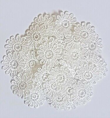10/30/50 Ivory/off White Guipure Lace Daisy Motifs Sew On Flower Appliques Arts • 2.35£
