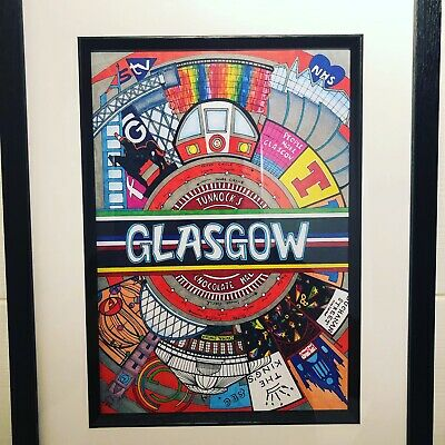 £39.99 • Buy Scotland Glasgow, Hand Drawn, Print, Poster, Picture, Wall Art, Home, Framed