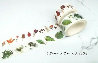 AU2.60 • Buy Japan Washi Tape  - Summer And Autumn Leaves 15mmx3mx2 Rolls MT449