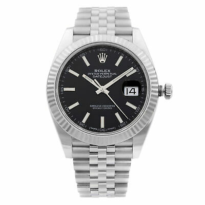 $ CDN14015.63 • Buy Rolex Datejust 41 Steel White Gold Black Stick Dial Automatic Mens Watch 126334