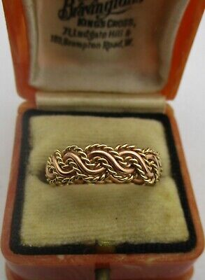 Fully Hallmarked 9ct Gold CLOGAU Rose & Yellow Welsh Gold Rope Twist Ring.!! • 87£