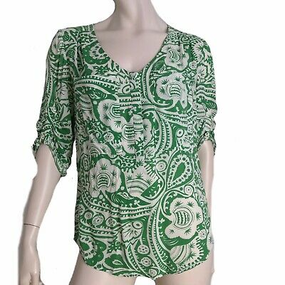 $ CDN27.72 • Buy Anthropologie Maeve Top Women Size Small Blouse Ethnic Print V Neck Pleated