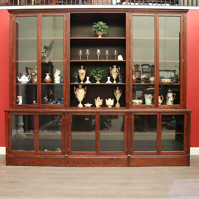 AU3750 • Buy 6 Section Bookcase China Cabinet, Oak, Australian Made Display Office Cabinet