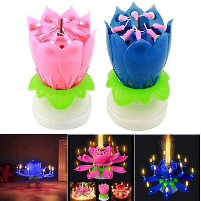 $ CDN10.09 • Buy 2Pcs Musical Blooming Lotus Flower Rotating Candle Lights Happy Birthday Party