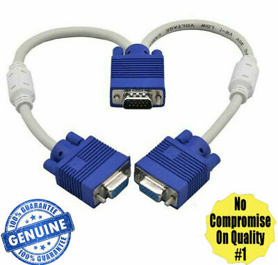 1 PC To 2 Way VGA SVGA Monitor Y Splitter Cable Lead 15Pin Male Female LCD TFT • 3.99£