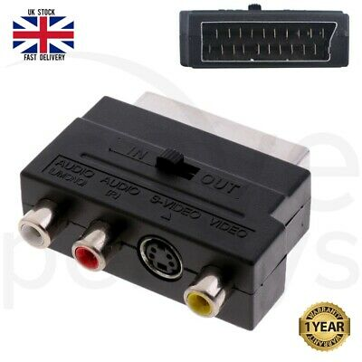 21Pin SCART Adaptor AV Block To 3 RCA Phono Composite S-Video With In/out Switch • 2.29£