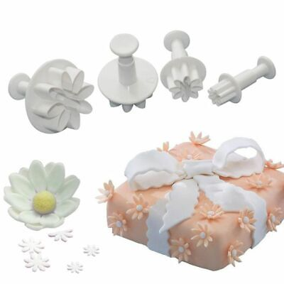 4pcs Flower Icing Cookie Cutter Fondant Cake Sugarcraft Mold Decorating Plunger • 4.79£