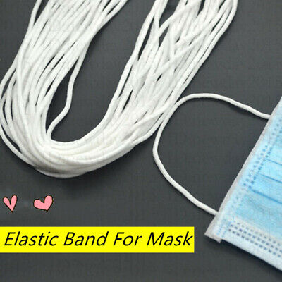 AU25.64 • Buy 10m-200m 3mm Round Elastic Band Rope Cotton Line For Sewing Face Mask Accessory