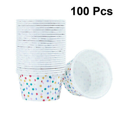 100Pcs Disposable Paper Treat Tubs Ice Cream Dessert Cups Bowls Party Supplies • 8.57£