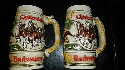 $ CDN23.75 • Buy Vintage 1983 Budweiser Stein Cameo Wheatland Design 6 Lot Of 2
