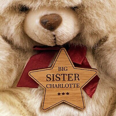 Personalised New Baby Big Brother / Sister Gift Star Badge Birth Announcement • 4.99£
