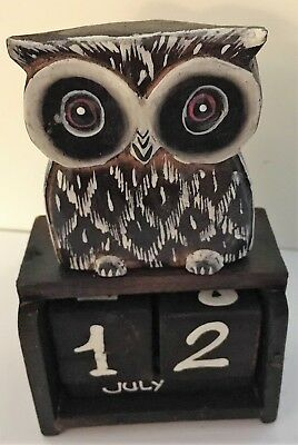 Shabby Chic Standing Owl Perpetual Calendar Wooden (Hand Carved) • 6.95£