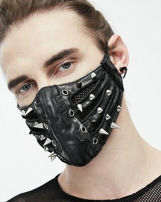 Devil Fashion Gothic Dieselpunk Mask Mouthguard Black Silver Faux Leather Spikes • 24.99£