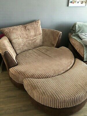 £350 • Buy Large Brown Cuddle/swivel Chair And Half Moon Foot Stool. Nearly New. Must Buy