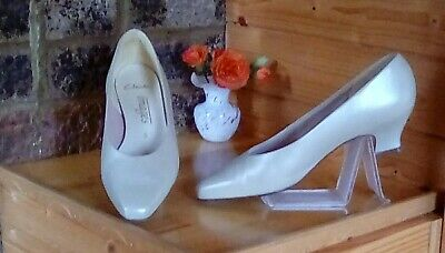 👠lovely Ivory Pearl Sheen Shoes White/ivory Wedding Size 5uk/38eu By Clarks • 13.70£