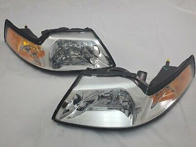 $90 • Buy For 1999 - 2004 Ford Mustang Chrome Direct Replacement Headlight Set - New