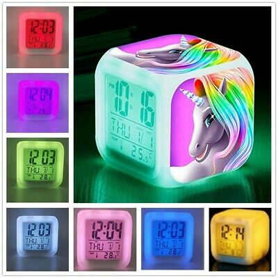 AU18.79 • Buy Kids Unicorn Alarm Clock Digital LED Wake-up Light Night Lamp Christmas Gift AU