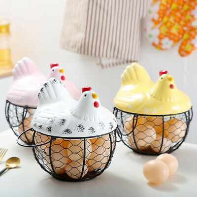 Iron Ceramic Hen Ornament Egg Fruit Storage Basket Container Kitchen Supply Tool • 21.80£