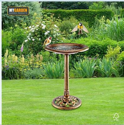 Antique Brass Effect Wild Bird Bath Large Pedestal Ornamental Garden Outdoor New • 28.99£