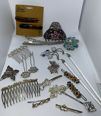 $14 • Buy Vintage Hair Accessories Lot ( Some Pieces Might Be Missing A Rhinestone Or Two