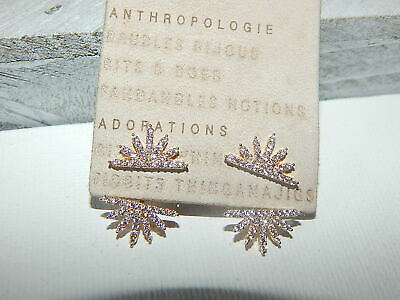 $ CDN37.37 • Buy Earrings Delicate Anthropologie Front Back Tiny Rhinestone Sunfan Pave  $48 Tag