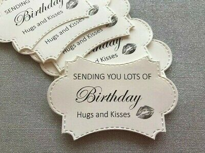 10 Happy Birthday Card Toppers Craft Embellishments Cardmaking - Hugs And Kisses • 2.95£