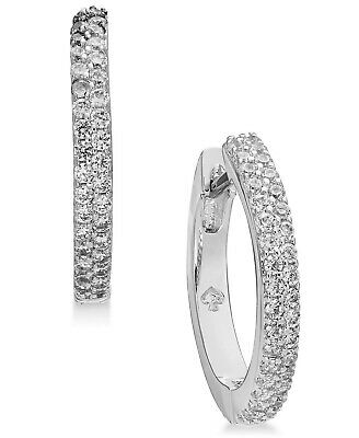 $ CDN46.51 • Buy Kate Spade York 244125 Womens Pave Crystals Huggie Hoop Earrings Silver