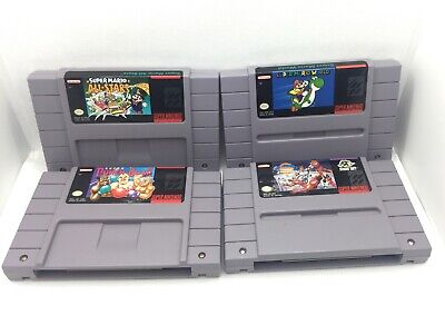 $ CDN103.50 • Buy Super Nintendo SNES Authentic Game Lot Of 4 - Mario World, All Stars, Punch Out