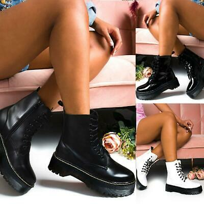 Womens Ladies Chunky Platform Ankle Lace Up Boots Goth Punk Zip Icon Retro • 19.99£