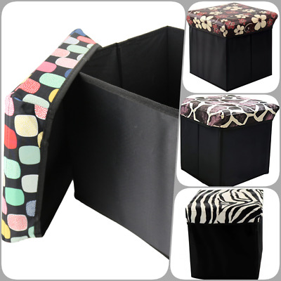 Single Folding Storage Pouffe Cube Foot Stool Seat Ottoman Footstool Toy Box • 7.49£