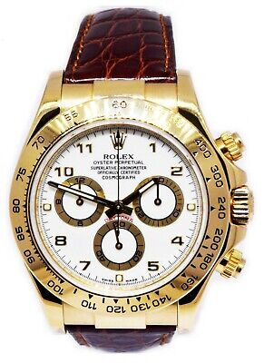 $ CDN24696.57 • Buy Rolex Daytona Chronograph 18k Yellow Gold White Dial Watch & Box M 116518