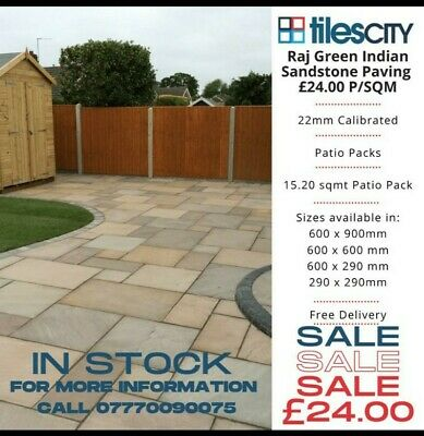 Raj Green Indian Sandstone Paving /Patio Slabs 22mm Calibrated • 24£