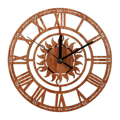 £7.78 • Buy Retro Roman Numeral Sun Wood Wall Clock 3D Watches Living Room Home Office Decor