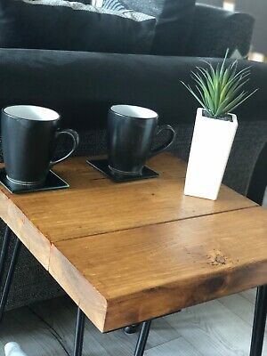 Rustic Solid Wood Side Table Oak Effect With Metal Legs - Made To Order • 60£