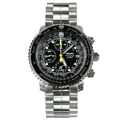 $ CDN335.19 • Buy Seiko Flightmaster Men's Black Dial Chronograph Watch SNA411