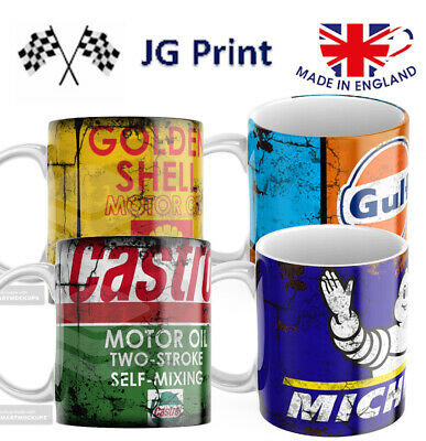 Oil Can Car Retro Mugs - 4 Pack  Vintage Shell Castrol Michelin Gulf • 19.99£