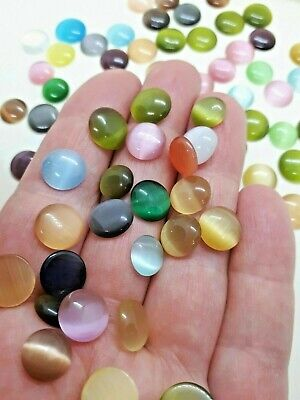 70 Pcs Cat Eye Glass Cabochons Mixed Size Color Half Round Dome Flatback 9-11 MM • 3.99£