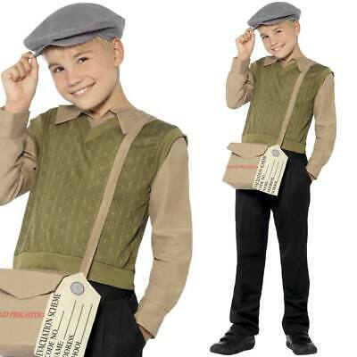 Boys 40s War Fancy Dress Kit Top Bag Hat Tag Wartime 1940s Outfit • 12.50£